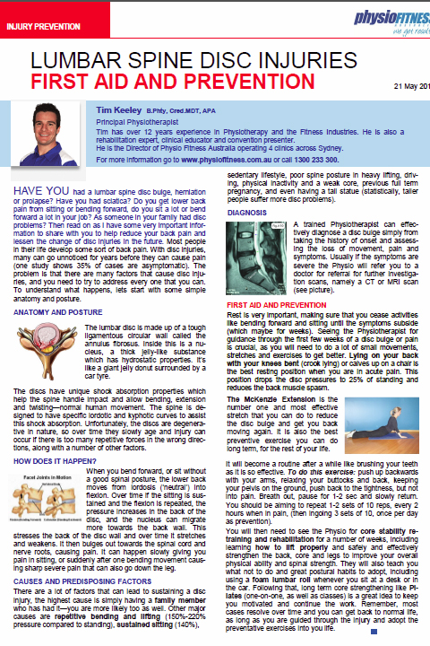 Lumbar Spine Disc Injuries - First Aid and Prevention (May 2010)